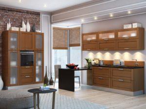 Кухня с фасадами Виктория Дуб из массива