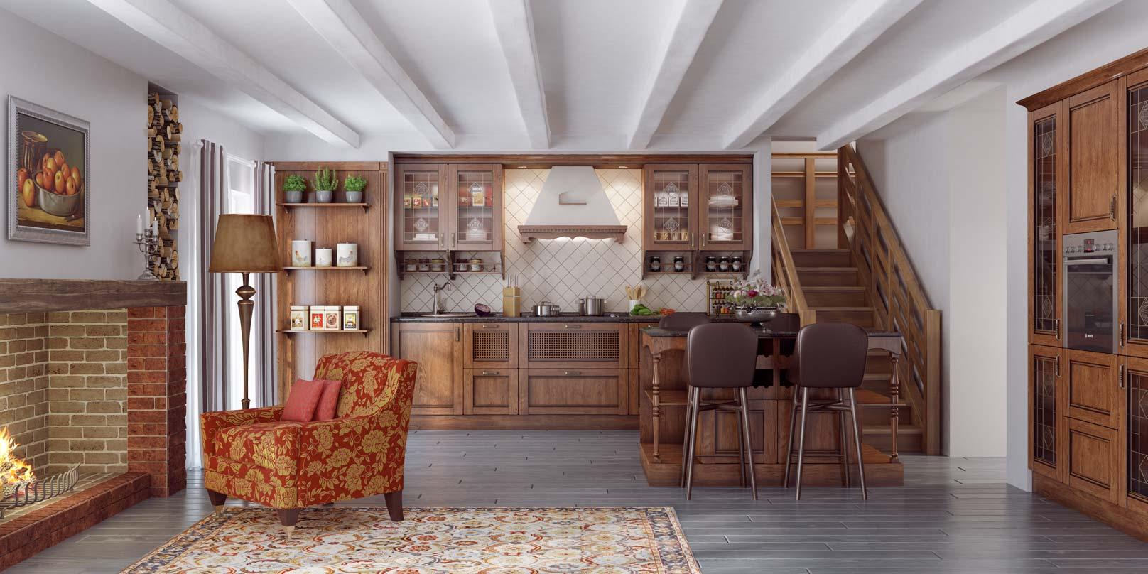 Кухня с дубовыми фасадами Елизавета