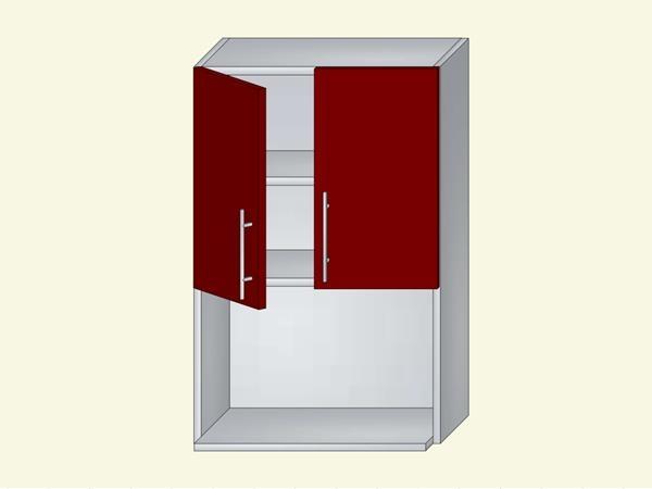 Корпус для кухни навесной с нишей под бытовую технику на 2 двери, арт. 9К