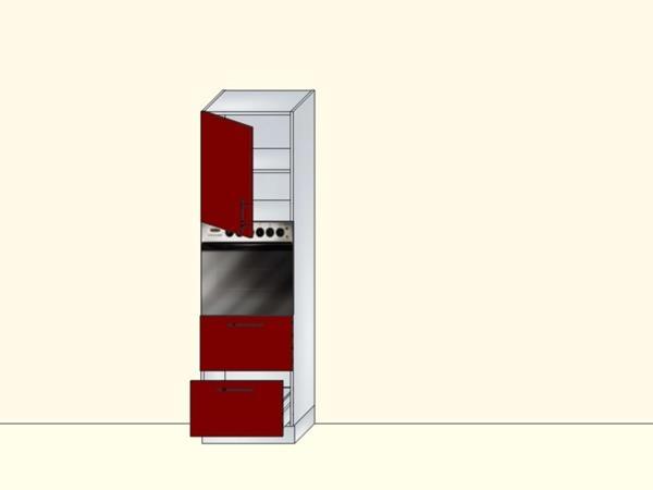 Напольный модуль-пенал для кухни с нишей под духовку, 1 дверью и 2 ящиками, арт. 38К