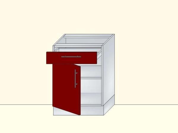 Напольный нижний модуль для кухни на 1 дверь и 1 ящик, арт. 21К
