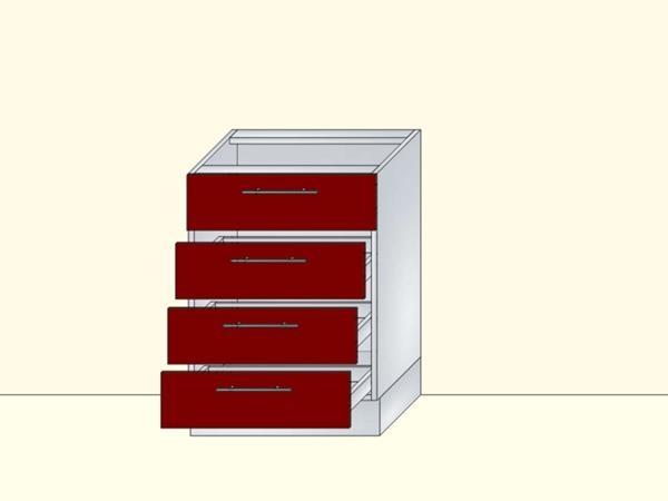Напольный нижний модуль для кухни на 4 ящика, арт. 27К