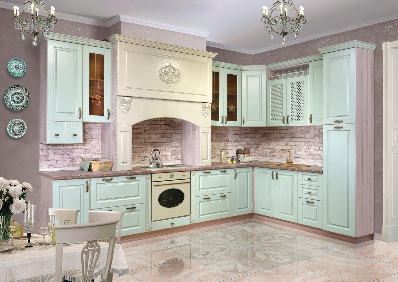 Кухня с фасадами, облицованными натуральным шпоном